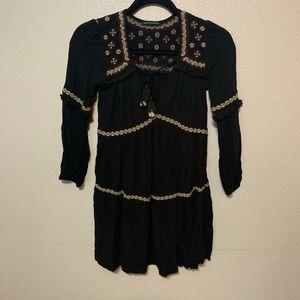 American Eagle boho embroidered dress long sleeve
